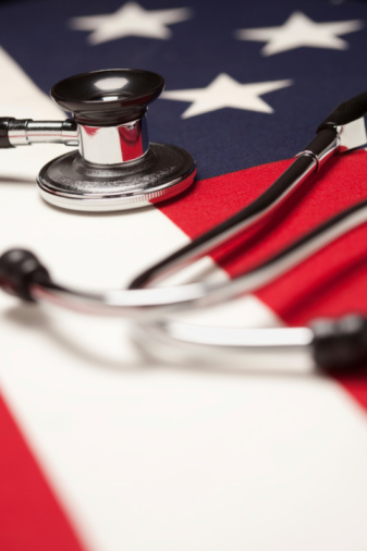 Stethoscope on American Flag with Selective Focus.