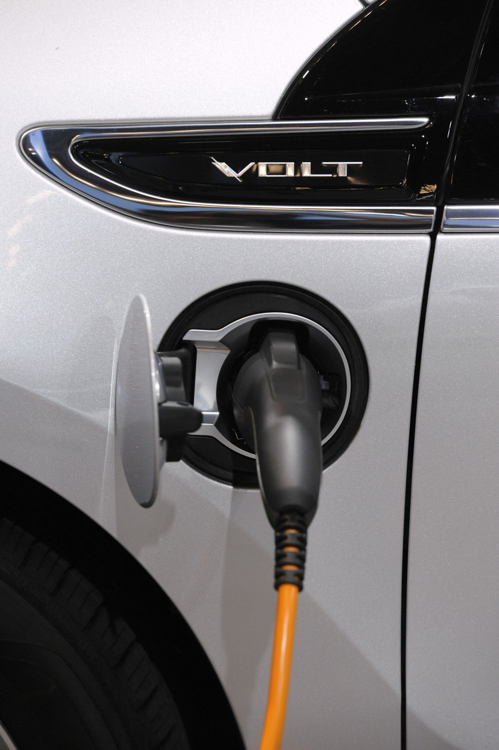 The Chevy Volt is on display at the Los Angeles Auto Show