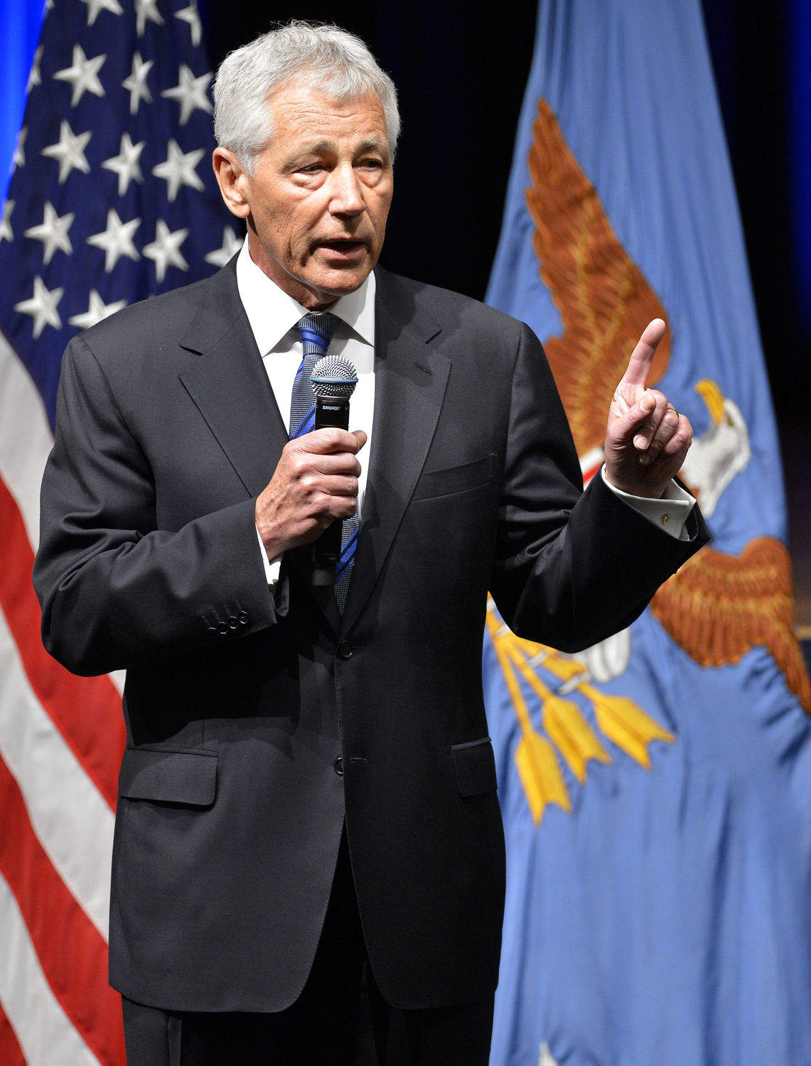 Chuck Hagel speaks at Pentagon on his first day after being sworn in as new Defense Secretary