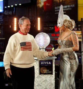 New York City Mayor Michael Bloomberg and Lady Gaga celebrate New Year's Eve in New York