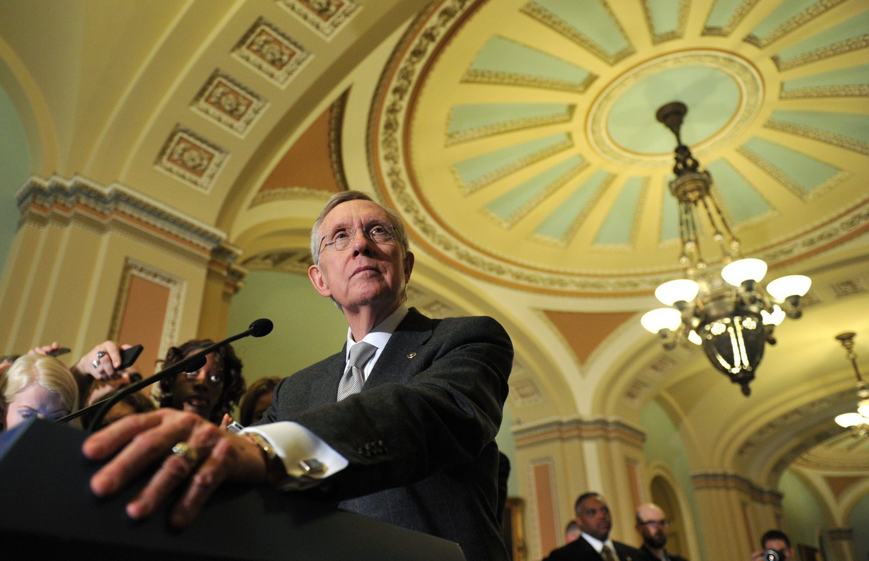 Senate Majority Leader Harry Reid speaks to the press in Washington