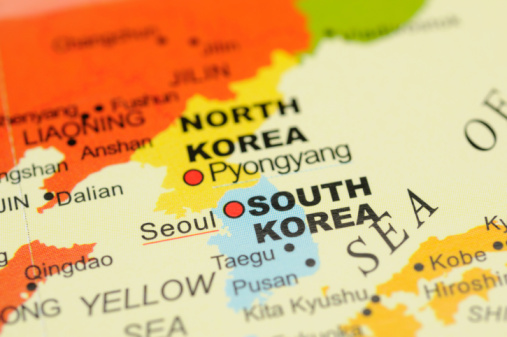 Korea on map