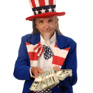 uncle sam holding a wad of cash
