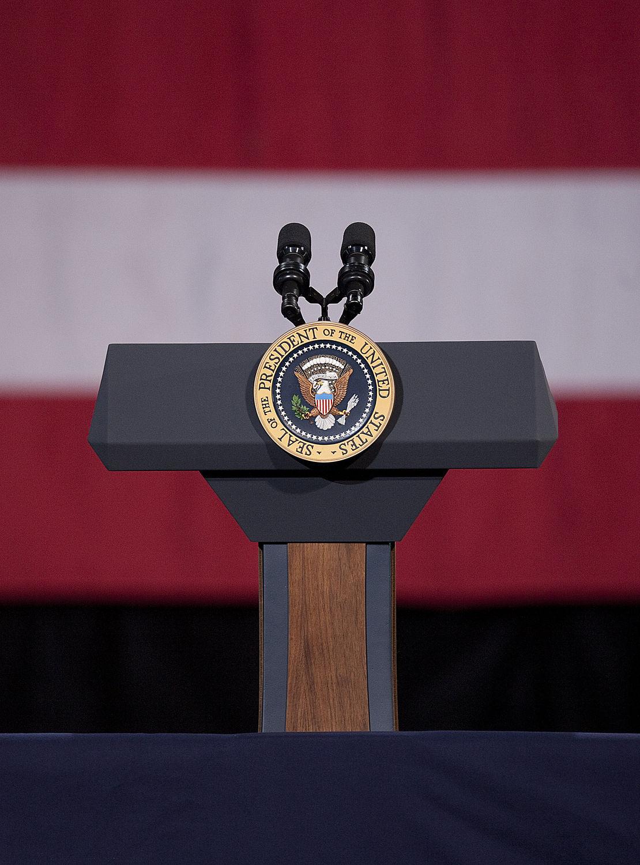 Podium Awaits President at Buckley Air Force Base in Aurora, Colorado