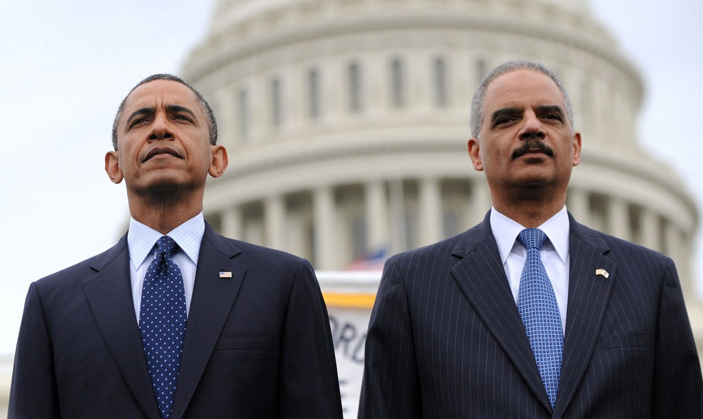U.S. President Barack Obama and Attorney General Eric Holder attend the 32st Annual National Peace Officers Memorial Service at the West Front Lawn of the U.S. Capitol in Washington, DC on May 15, 2013. Obama attended the annual event to honor law enforcement who were killed in the line of duty in the previous year.    UPI/Olivier Douliery/Pool