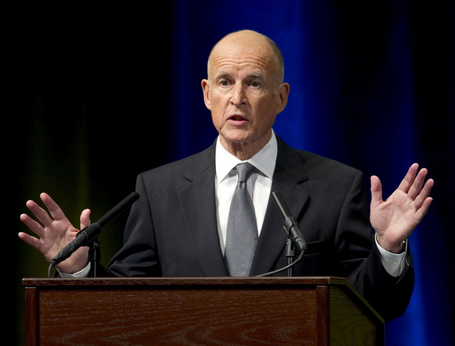 California gubernatorial candidate Jerry Brown debates Meg Whitman in Davis, California