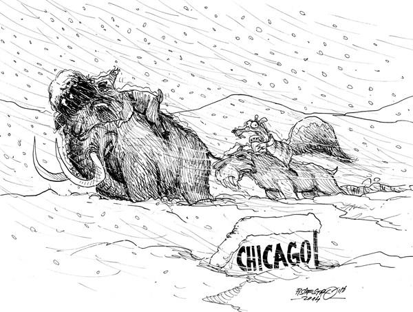 karikatur für tribüne- USA Ice-age 2014