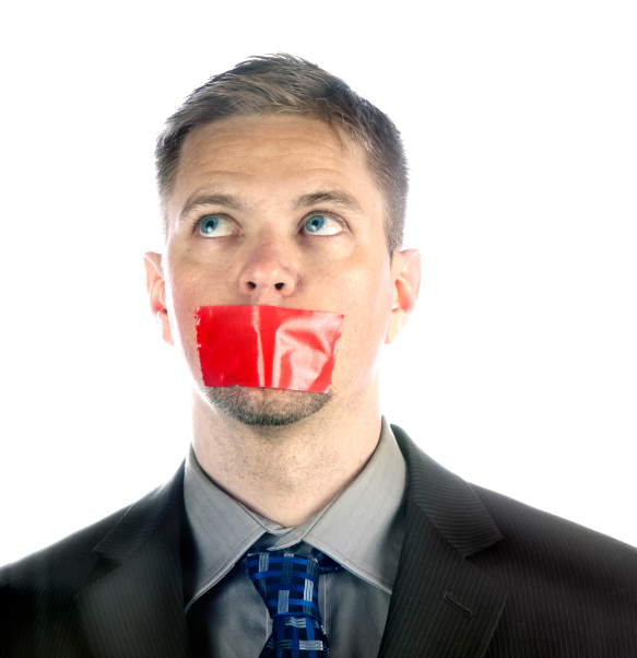 man with tape over mouth