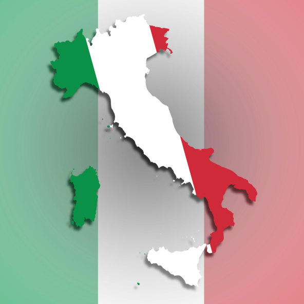 Map of Italy filled with flag