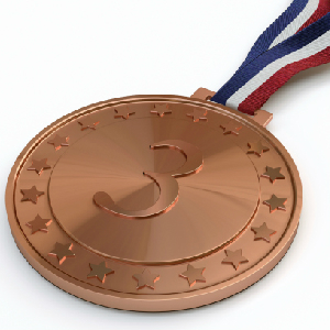 bronze third place medal