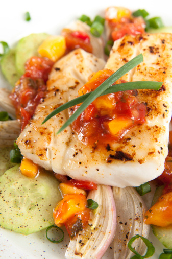 Grilled Halibut on Bed of Vegetables