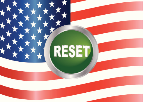 Government Reset Button with US Flag