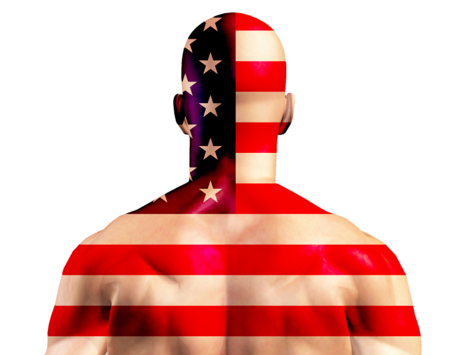 Muscular American Man covered in flag design