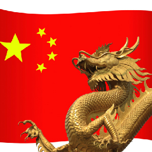 chinese flag and dragon