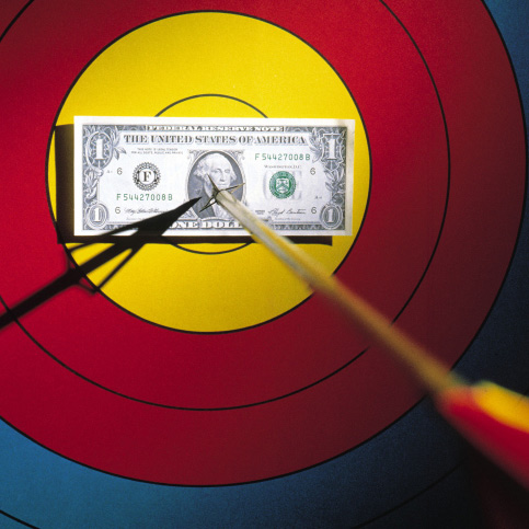 Arrow Through Dollar Bill On Target