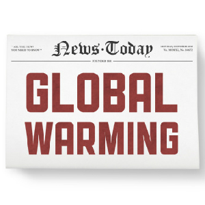 global warming headline on newspaper