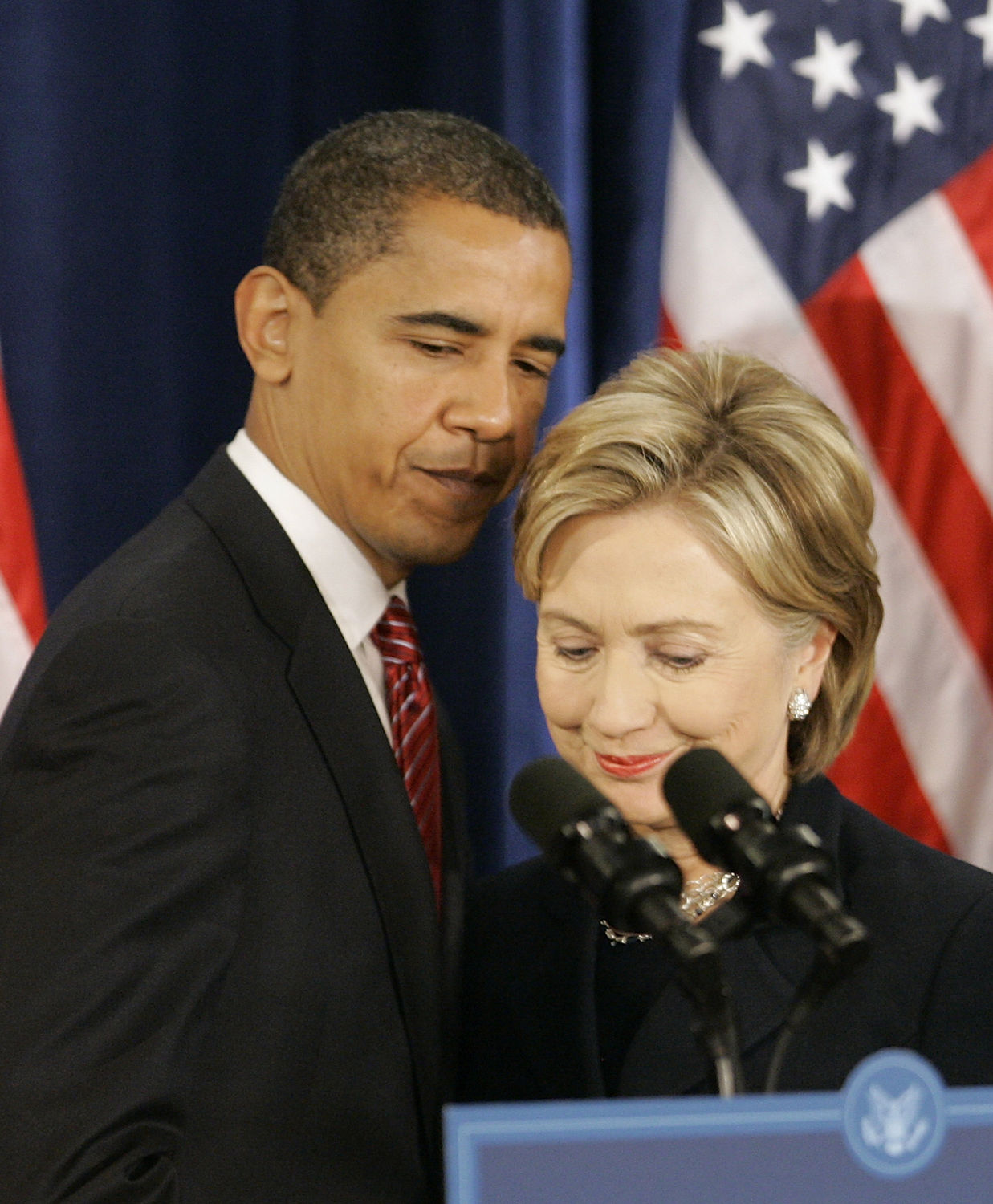 President-elect Barack Obama (L) introduces Secretary of State designee Sen. Hillary Clinton (D-NY) during a news conference announcing his national security team on December 1, 2008 in Chicago. In addition to Clinton, Obama also named Arizona Gov. Janet Nepolitano as homeland security secretary, ret. Marine Gen. James L. Jones as national security advisor, Susan Rice as ambassador to the United Nations, Eric Holder as attorney general and announced that Robert Gates, the current Secretary of Defense, will stay on in his post under the new administration. (UPI Photo/Brian Kersey)