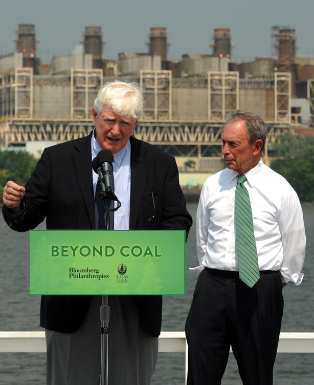 Michael Brune, executive director of the Sierra Club, Rep. Jim Moran, D-VA, New York City Mayor Michael Bloomberg and Mary Anne Hitt, director of the Beyond Coal Campaign, (L to R) hold a news conference announcing a partnership between Bloomberg Philanthropies and the Sierra Club to push for shutting down coal-fired powerplants and replace them with more environmentally friendly options aboard the Nina Dandy across from the GenOn coal-fired powerplant in Alexandria, Virginia, on July 21, 2011. UPI/Roger L. Wollenberg