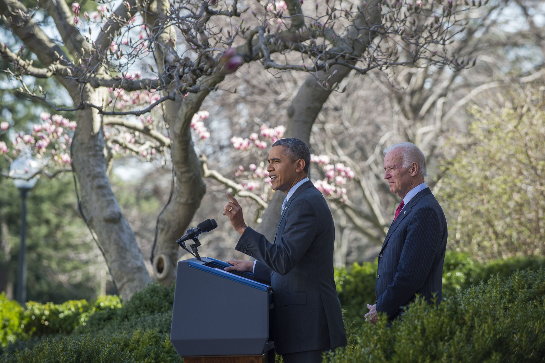 President Barack Obama with Vice-President Joe Biden announces that 7.1 million peoplee have signed up for the Affordable Care Act, in the Rose Garden of the White House