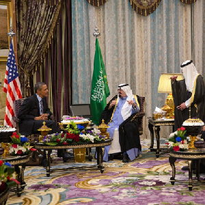 President Barack Obama meets with King Abdullah bin Abdulaziz Al Saud of the Kingdom of Saudi Arabia during a bilateral meeting at Rawdat Khuraim in Saudi Arabia, March 28