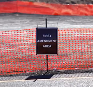 First Amendment Area sign