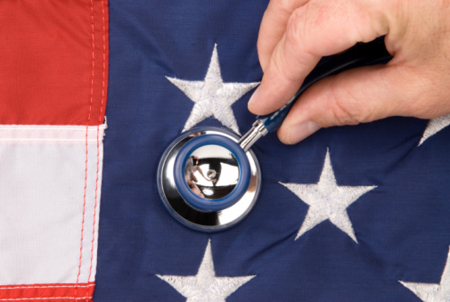 Obamacare: American flag and stethoscope