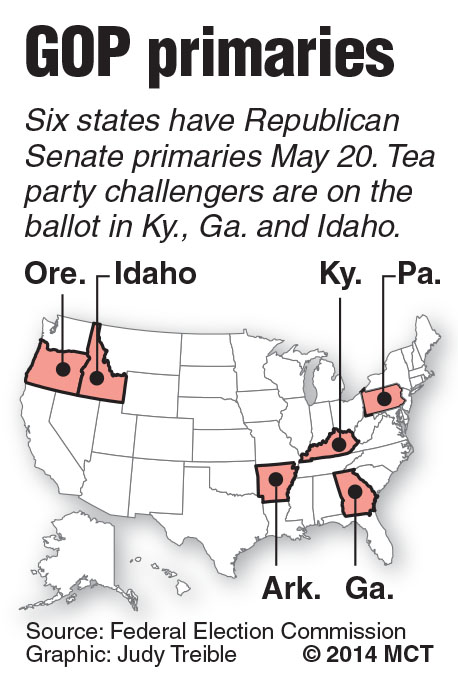 U.S. map shows the five states with Republican Senate primaries on May 20; tea party challengers will test the GOP establishment candidates. MCT 2014<p> With CAMPAIGN-PRIMARIES, McClatchy Washington Bureau by David Lightman