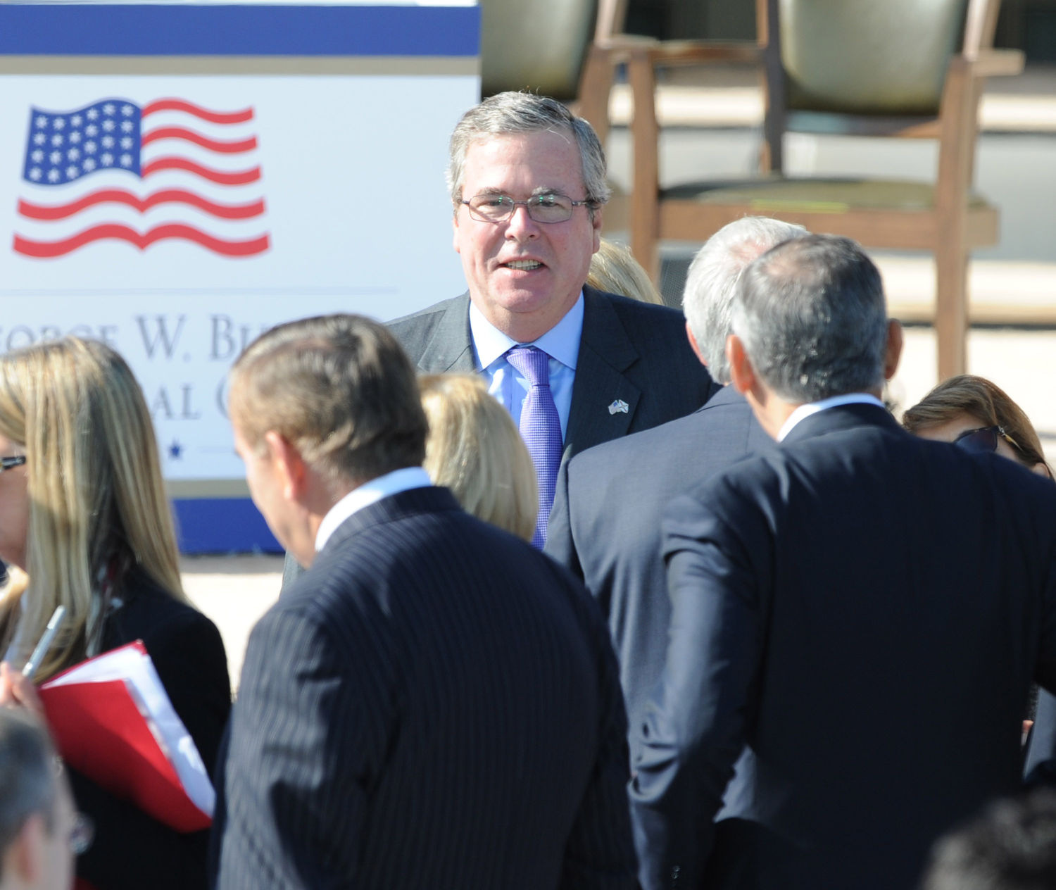 Jeb Bush makes his way to the dedication of the George W. Bush Presidential Library in Dallas on April 25, 2013. The museum, located on the campus of SMU in Dallas, features a permanent exhibit that uses artifacts, documents, photographs, and videos from the Library's extensive collection to capture the key decisions and events of the Presidency of George W. Bush. UPI/Ian Halperin