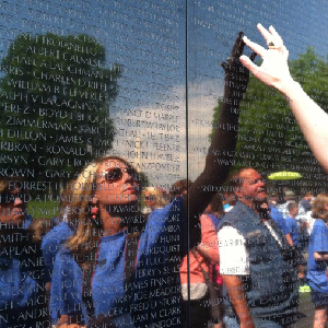 Touching the Vietnam Memorial