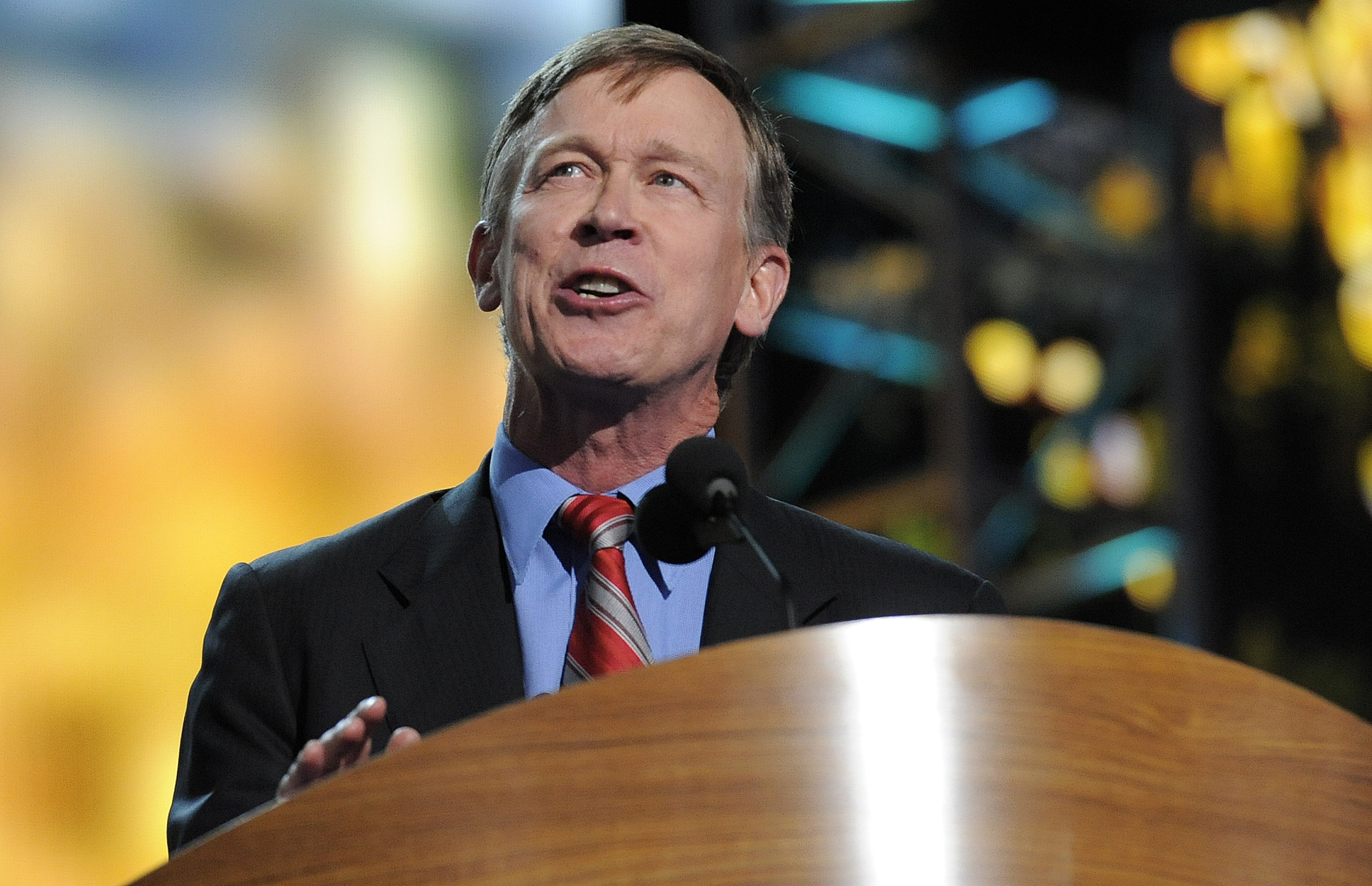 Colorado Governor John Hickenlooper speaks at the Time Warner Cable Arena during the Democratic National Convention in Charlotte, North Carolina on September 5, 2012. UPI/Mike Theiler