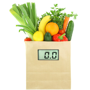 healthy foods in grocery bag with scale