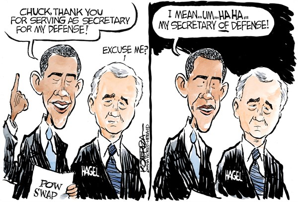 "Jeff Koterba cartoon for June 13, 2014 ""Hagel, Obama, Bergdahl"""