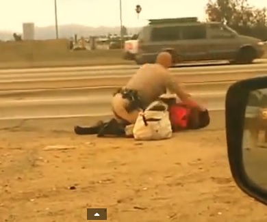cop beating woman