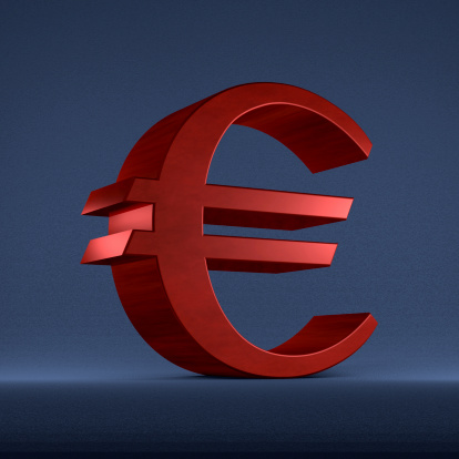 Red euro sign on blue