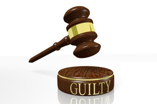Guilty, govel, court, law, justice, contract, judge, auction, 3D, concept...