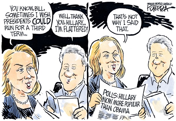 "Jeff Koterba cartoon for August 7, 2014 ""Clinton Hillary Obama campaign"""