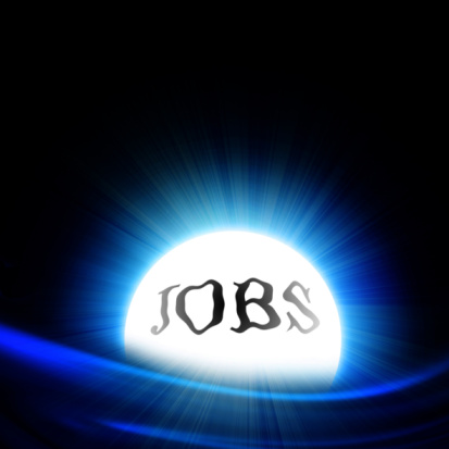 crystal ball with 'jobs' on a dark background