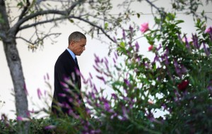 President Barack Obama makes his way to the residence after delivering a statement about the U.S. strategy against ISIS at the White House in Washington, D.C., on Tuesday, Sept. 23, 2014. (Olivier Douliery/Abaca Press/MCT)