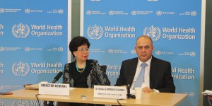 Dr Margaret Chan, WHO director-general, and Dr Roberto Morales Ojeda, Cuba's minister of public health at the World Health Organization headquarters press conference on Ebola crisis Friday September 12, 2014 in Geneva. (John Zarocostas/McClatchy/MCT)