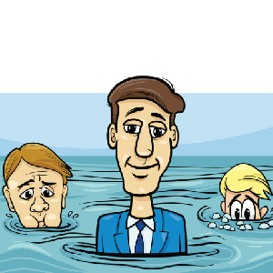 illustration of people doing fine, treading water and drowning financially