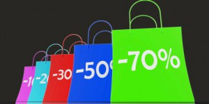 Percent Reduced On Shopping Bags Shows Bargains