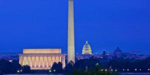 Washington, DC skyline at night; United States