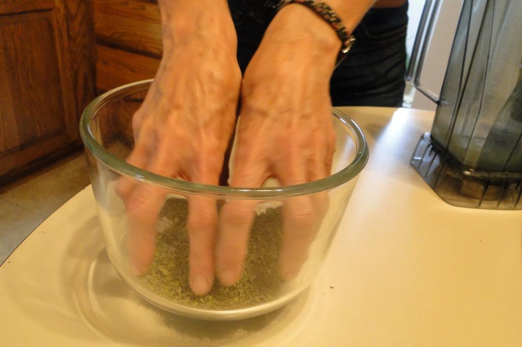 crunching dried kale