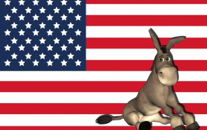 Illustration of a donkey and the USA flag