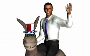 Obama on a donkey