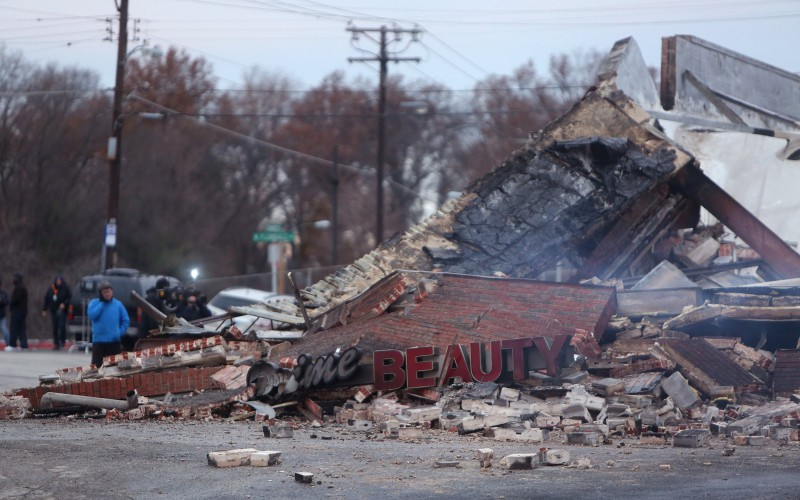 The smoldering remains of a beauty supply store at the corner of Chambers Road and West Florissant Avenue on Tuesday, Nov. 25, 2014, in Ferguson, Mo. (Cristina Fletes-Boutte/St. Louis Post-Dispatch/TNS)