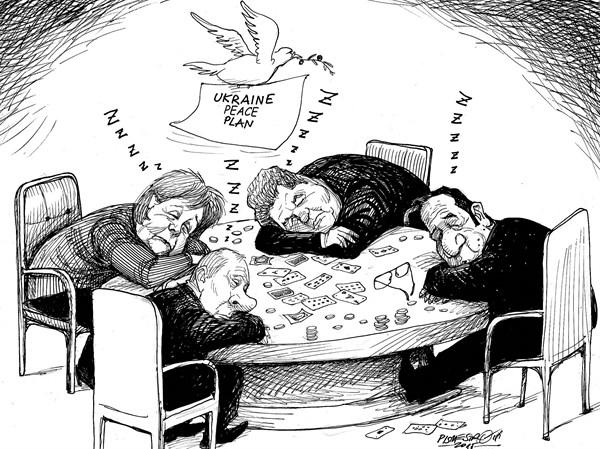 karikatur für tribüne-nach lange schlafflose nacht