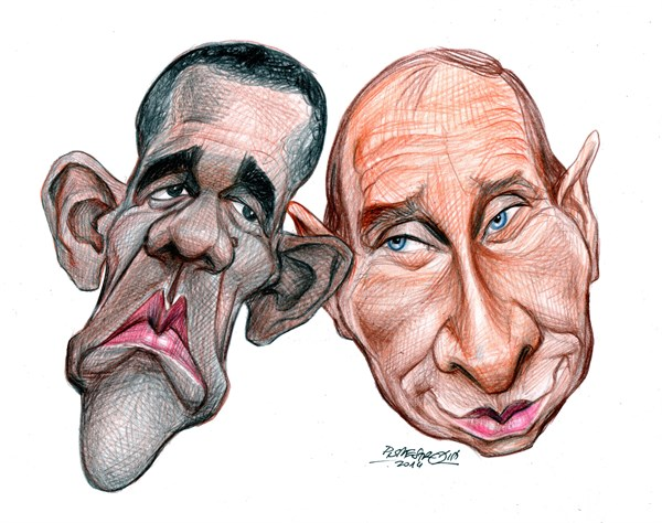 karikatur obama-putin theater