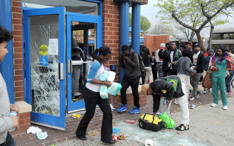 Looters empty the CVS at Pennsylvania and North Avenues during riots on Monday, April 27, 2015, in Baltimore. (Jerry Jackson/Baltimore Sun/TNS)
