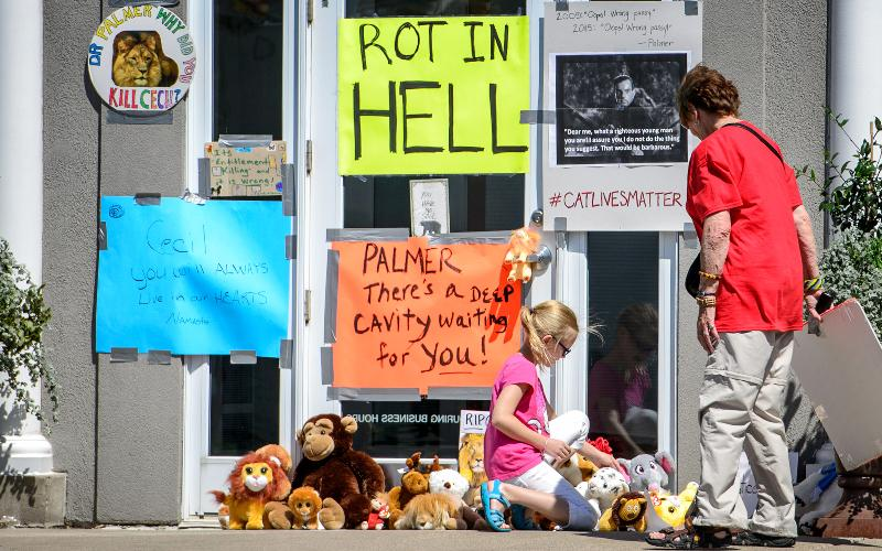 Protesters left signs and stuffed animals in front of the Minnesota dental practice of Walter Palmer, who is accused of killing Cecil, a beloved lion, in Zimbabwe.